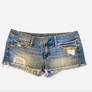 AEO Denim Cutoff Jean Shorts Ripped Festival 6